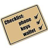 """Super Rui Door Mat Interesting Remind Checklist Phone Keys Wallet Don't Forget Indoor/Outdoor Floor Mat Non-Slip Doormat - 23.6""""(L) x 15.7""""(W), 3/16 Thickness"""