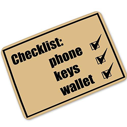 - Super Rui Door Mat Interesting Remind Checklist Phone Keys Wallet Don't forget Indoor/Outdoor Floor Mat Non-slip Doormat - 23.6