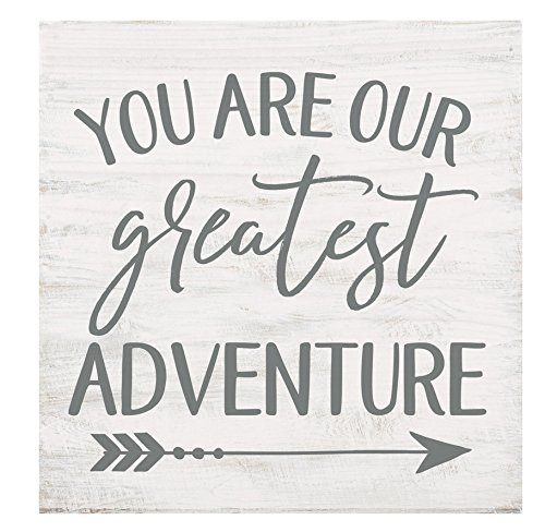 P. GRAHAM DUNN You are Our Greatest Adventure Whitewash 5.5 x 5.5 Solid Wood Barnhouse Block Sign
