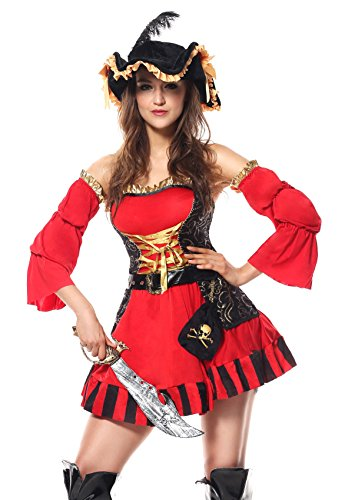 Deluxe Captain Quinn Pirate Costumes (Kerr G Cute Sweet Sexy Red Disney Pirates Of Caribbean Deluxe Girls Adult Cool Cosplay Costume (X-large))
