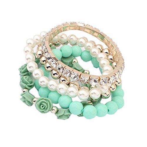 DATEWORK 5 PC/Set Acrylic Rose Flower Round Pearl Shining Rhinestone Crystal Elastic Bracelet (Green) ()