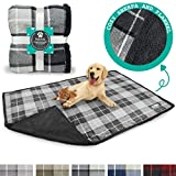 PetAmi Dog Blanket for Bed Couch Sofa | Large Sherpa Pet Throw Blanket | Soft, Cozy, Microfiber Fleece | Reversible Plaid Design for Puppy and Large Pet Dog | Size 80 x 60 Inches Charcoal Grey