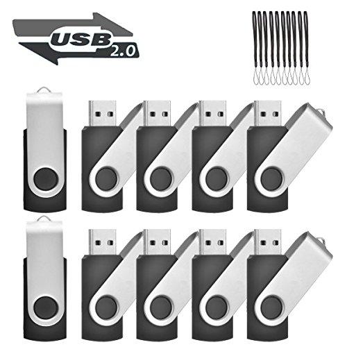 EASTBULL 10PCS 16GB USB 2.0 Flash Drive Swivel Bulk Pen Drive Memory Stick Thumb Drive Fold Storage Black by EASTBULL
