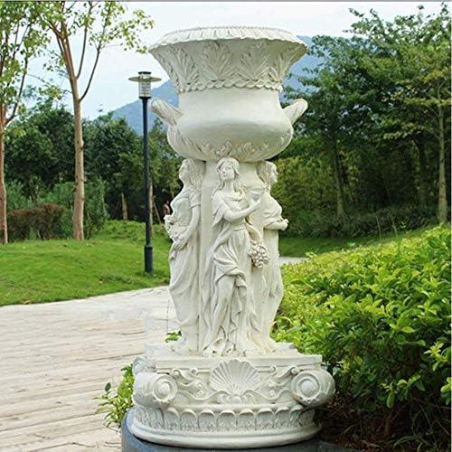 庭の装飾天使の大きなフラワーポットの置物屋外Waterp庭の芝生の装飾風景ギフトのための屋根の樹脂庭の彫像-36 * 36 * 73cm A