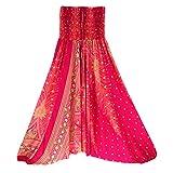 FEITONG Men Women Casual Loose Yoga Trousers Baggy Boho Aladdin Jumpsuit/Harem Pants(Free Size,Hot Pink)