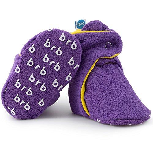 Fleece Baby Booties - Organic Cotton & Gripper Bottoms, Cozy Boys & Girls Bootie (US 7, Purple Daisy)