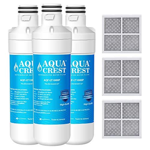 AQUACREST MDJ64844601 Refrigerator Water Filter, Compatible with LG LT1000P, LT1000PC, LT-1000PC MDJ64844601 and LT120F Combo 3 Pack -