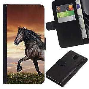 LECELL--Cuero de la tarjeta la carpeta del tirón Smartphone Slots Protección Holder For Samsung Galaxy Note 3 III -- Hermoso Caballo Negro --