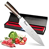 Chef Knife Premium Japanese AUS8 Steel - Professional 8 Inch Kitchen Chefs Knife - Durable, Rust-Proof Stainless Steel Sharp Blade with Solid Wood Handle in Elegant Magnetic Gift Box Set