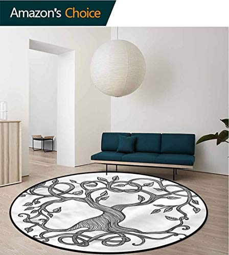 RUGSMAT Celtic Washable Creative Modern Round Rug,Tree of Life Swirly Branches Pattern Floor Seat Pad Home Decorative Indoor Diameter-47 ()