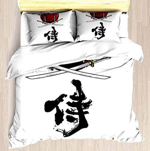 SINOVAL Samurai Katana Tori gate Kanji Full/Queen Brushed Microfiber 1 Duvet Cover 2 Pillow Shams Zipper Closure