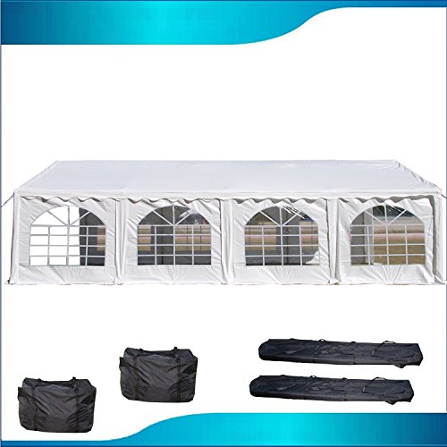 DELTA Canopies 26'x16' PVC Party Tent - Heavy Duty Wedding Canopy Gazebo Carport - with Storage Bags - By (Pvc Pole Tent)