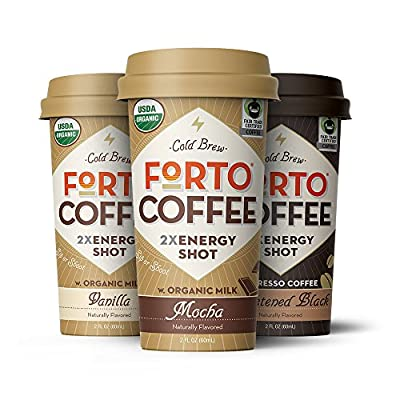 FORTO Organic Coffee Energy Drink, 2oz Shot of Fair Trade Cold Brew, 200 mg Caffeine, Variety Mix (includes 2 of each: Mocha, Vanilla, Sweetened Black), 6 Pack