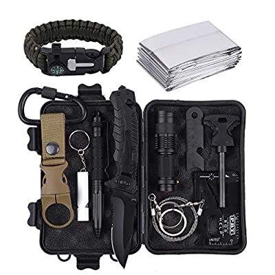 RUIJIA Survival Kit 12 in 1, Survival Gear Wise Outdoor Emergency Tactical Defense Equipment Tools, Emergency Gear for Camping, Hiking, Climbing, Fishing, Pefect Gifts for Men Women Boy Girl Teen from RUIJIA