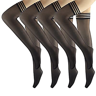 4 Pairs Silicone Top Striped Thigh High Stockings for Women, Over Knee Stay Up Sheer Tights