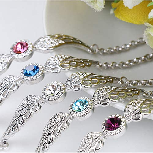 Crystal Bracelet Angel Wings Length 6.3+1.3 Fashion Jewelry Gifts for Womens and Girls Purple