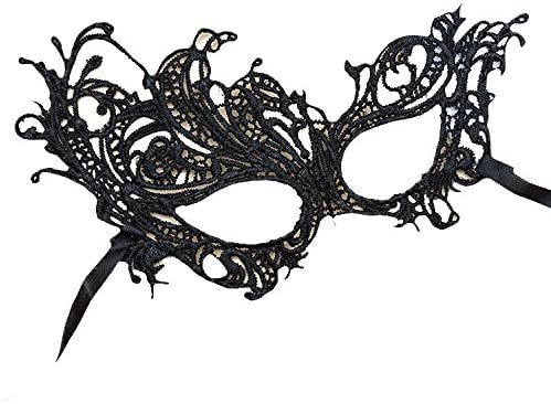 Máscara veneciana negro mujeres hombres - Perfecto para Carnaval y ...
