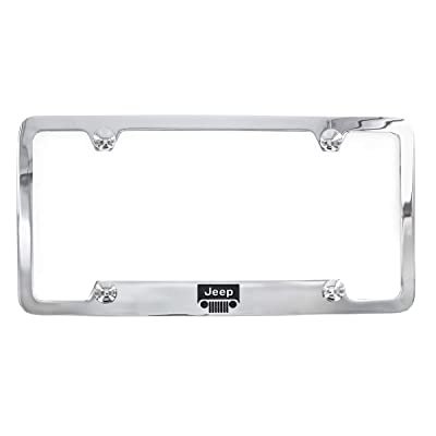 Jeep Logo Chrome Plated Metal Top Engraved License Plate Frame Holder: Automotive