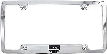 Jeep Logo Chrome Plated Metal Top Engraved License Plate Frame Holder