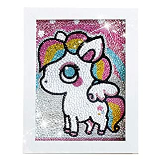 Unicorn Pony Diamond Painting for Kids Full Drill Painting by Number Kits Arts Crafts Supply Set Rhinestone Mosaic Making for Home Wall Decor Gifts for Christmas Birthday -Include Wooden Frame