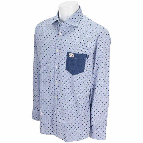 サンシックスティエイト SUN68 長袖シャツ?ポロシャツ 衿裏 ポケットデニム小紋柄長袖シャツ