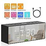 Alarm Clock Digital FM Radio Alarm Clock with USB Charge Port Dual Alarms LED Display Mirror with Dimmer Sleep Timer Snooze Radio for Bedroom