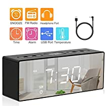Alarm Clock Digital FM Radio Alarm Clock with USB Charge Port Dual Alarms LED Display Mirror with Dimmer Sleep Timer Snooze Radio for Bedroom