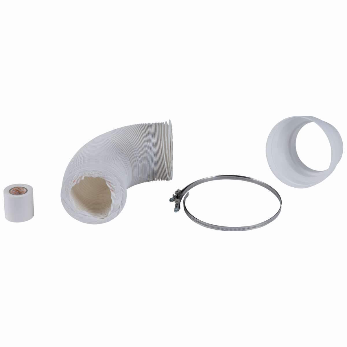 HEITRONIC Abluftschlauch-Set 5-teilig Abluftschlauch, Schlauchschellen, Abluftreduzierstück und Klebeband