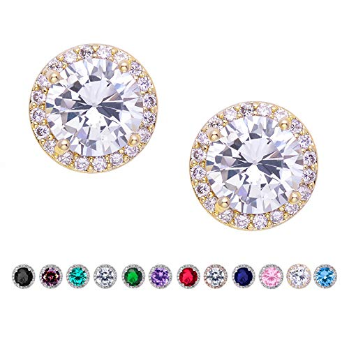 SWEETV Cubic Zirconia Stud Earrings for women, brides, bridesmaids,Gold
