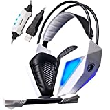 Sades SA-710 Professional Usb 7.1 Surround Encoding Audio Noise Cancelling Pc Gaming Headset 40mm Driver Deep Bass with Microphone  Remote Controller - White(For Pc And Ps4)