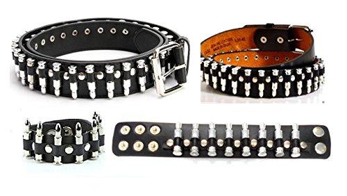Silver Bullet Belt and Bracelet Set Punk Rock Costume Fashion Accessories (Large (38-40