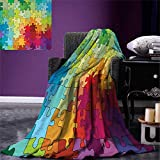 Abstract Super Soft Lightweight Blanket Colorful Puzzle Pieces Fractal Children Hobby Activity Leisure Toys Cartoon Image Oversized Travel Throw Cover Blanket 90''x70'' Multicolor