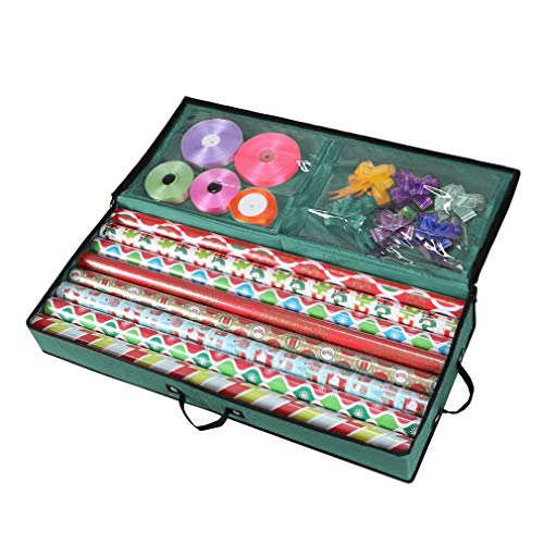 Primode Storage Organizer for 30 Inch Wrapping Paper, Ribbon and Bows Durable 600D Oxford Material (Green)