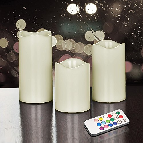 Hestia Goods Flameless Candles with Remote Control & Timer, LED Candles Color Changing Decorate Indoor and Outdoor, Ivory color Pillars, Set of 3 (Sconces With Flameless Candles)