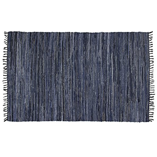 Recycled Rag Rugs - DG Home Goods Chindi 5' x 8' Blue Denim 100% Recycled Cotton Area Rag Rug Natural Woven Fabric
