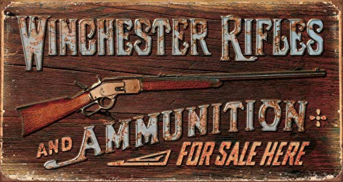 "Desperate Enterprises Winchester - Rifles & Ammo Tin Sign, 16"" W x 8.5"" H"