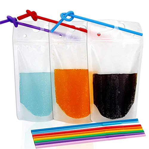 Beverage Pouch - TOMNK 100pcs Clear Drink Pouches Bags Smoothie Bags Reclosable Zipper Heavy Duty Hand-held Translucent Stand-up Plastic Pouches Bags Drinking Bags 2.4