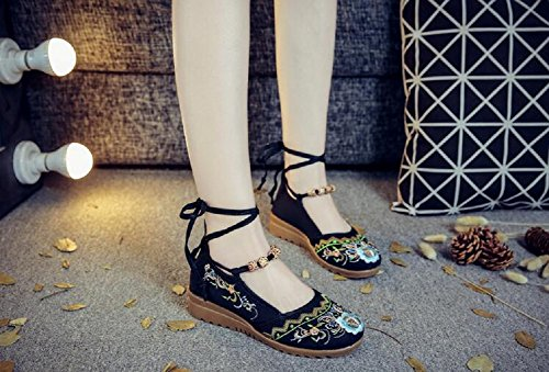 Ville Noir pour Femme Lazutom Chaussures Lacets de à 6qgaEpx