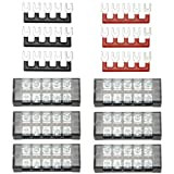 XLX 12pcs (6 Set) 600V 25A 5 Positions Double Row Screw Terminal Strip and 400V 25A 5 Positions Red/Black Pre-Insulated Terminal Barrier Strip
