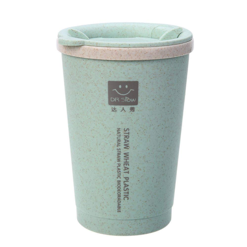 AGUIguo 280ML Wheat Straw Portable Double-Wall Portable Office Coffee Tea Mug Cups Gifts (Green)
