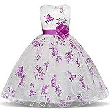 TTYAOVO Girls Flower Printing Chiffon Princess Wedding Party Holiday Dresses Size 6-7 Years Purple