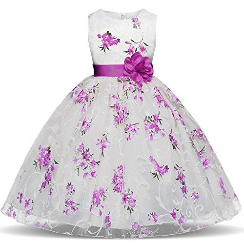 TTYAOVO Girls Flower Printing Chiffon Princess Wedding Party Holiday Dresses Size 5-6 Years Purple