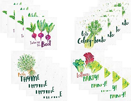 Funny Garden Vegetables Beverage/Cocktail Paper Napkin Bundle - 4 Styles - 96 Total