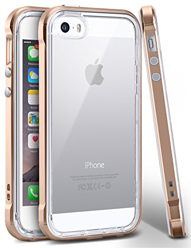 iPhone SE Case, Ansiwee Reinforced PC Frame Highly Durable Crystal Slim Shock-Absorption Flexible Soft Rubber TPU Bumper Hybrid Protective Case for Apple iPhone SE/iPhone 5s 5 (Gold)