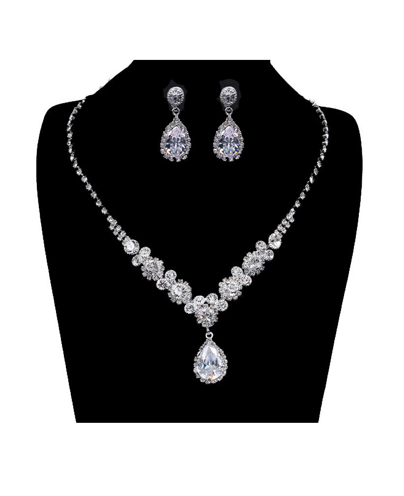 UDORA Rhinestones Necklace Earrings Jewelry Sets for Bridal Wedding Party (T1219)