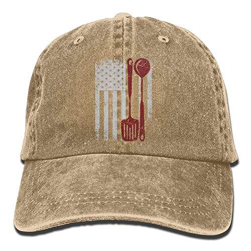 Flag Square Battle (USA Flag Cooking Unisex Baseball Cap Cotton Denim Adjustable Sun Hat for Men Women)