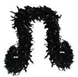 SACASUSA (TM) 100g Turkey Feather BOA Brand New in POLY BAGS ! Turkey Feather Chandelle Boa 6 feet long (Black Silver Tinsels)