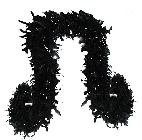 SACASUSA (TM) 100g Turkey Feather BOA Brand New in POLY BAGS ! Turkey Feather Chandelle Boa 6 feet long (Black Silver Tinsels) -