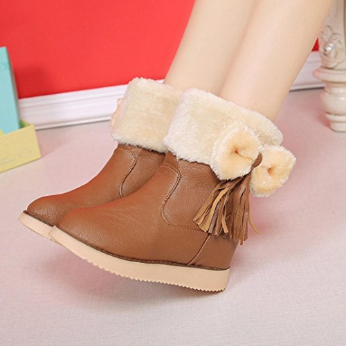 Botas Mujer,Ouneed ® Moda zapatos Flats Bowknot borla mantienen cargadores de la nieve caliente Caqui