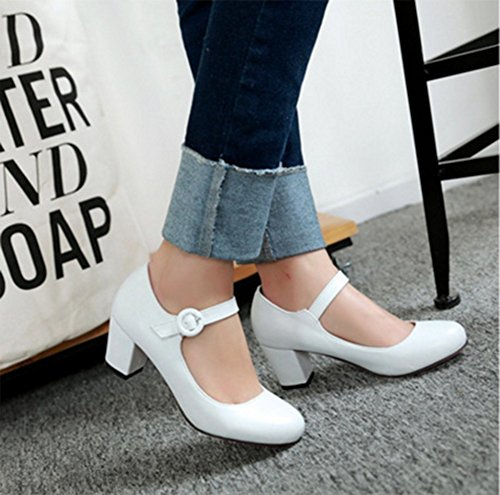 CHFSO Womens Round Toe Ankle Strap Buckle Chunky Heel Low Cut Pumps Shoes White nsZ5cF7V